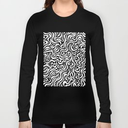 Abstract 041211 - White on Black Long Sleeve T-shirt