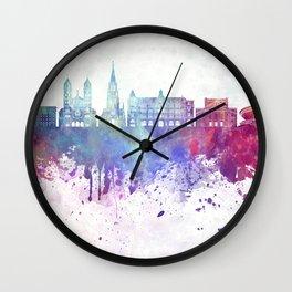 Katowice skyline in watercolor background Wall Clock