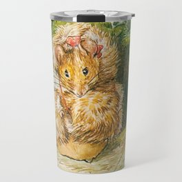 Cute little mouse in a fur coat Travel Mug