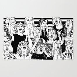 Wild girls. Black and white illustration. Rug