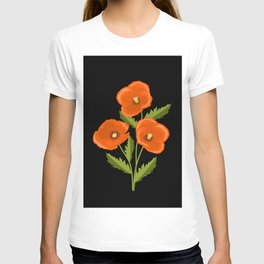 three red poppies on the black T-shirt