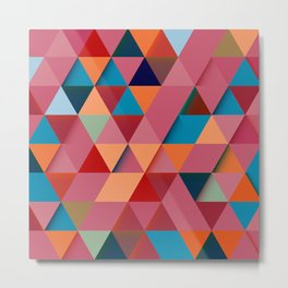 Colorfull abstract darker triangle pattern Metal Print