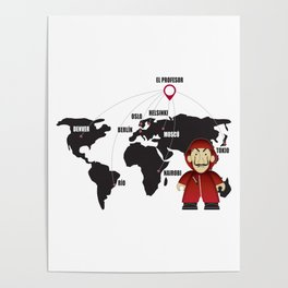 La casa de Papel Money Heist Map Poster