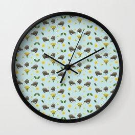 Kiwis and Flowers Wall Clock
