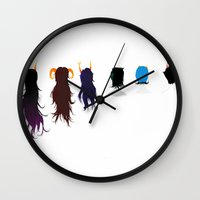 homestuck Wall Clocks featuring Homestuck Ladies by Paula Urruti