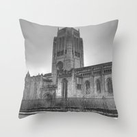 liverpool Throw Pillows featuring Liverpool Cathedral by Abi Booth