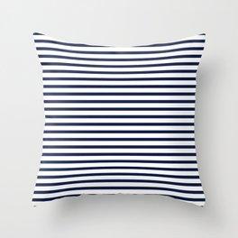 Navy Blue Breton Nautical Stripes Lines Minimal Stripe Line Throw Pillow