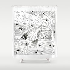 Wanderlust Series - Whale Shower Curtain
