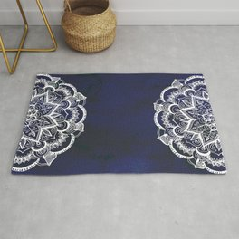 White Feather Mandala on Navy Rug
