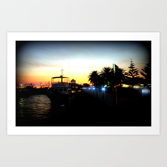 Night lights as Dusk settles over the Esplanade in Lakes Entrance - Australia Art Print