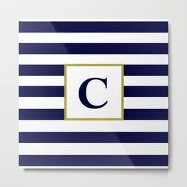 Monogram Letter C in Navy Blue and White Metal Print