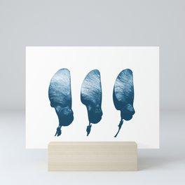 Rosewood three tree seeds blue and white Mini Art Print