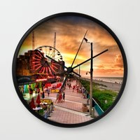 boardwalk empire Wall Clocks featuring Boardwalk  by Justin Alan Casey