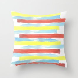 Watercolor horizontal paint stripes in primary colors, red, yellow, blue Throw Pillow