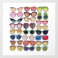 sunglasses Art Prints featuring Sunglasses by Veronique de Jong · illustration