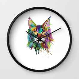 Splash Maine coon Cat Wall Clock