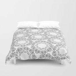 Abstract geometrical black white hand painted mandala Duvet Cover