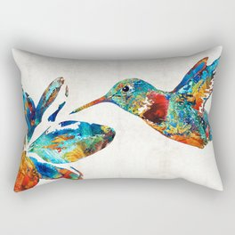 Colorful Hummingbird Art by Sharon Cummings Rectangular Pillow