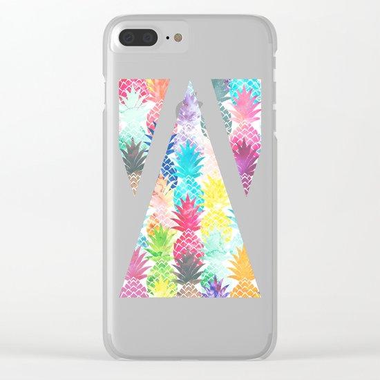 Hawaiian Pineapple Pattern Tropical Watercolor Clear iPhone Case