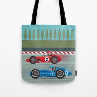 racing Tote Bags featuring Retro Racing by we are 3 fish