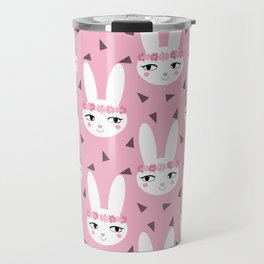 Bunny baby girl rabbit illustration cute decor for girls room pink pattern by charlotte winter Travel Mug