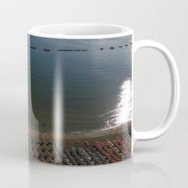 cesenatico umbrellas Mediterranean aerial shot sunrise blue horizon beach italy tourism view drone Coffee Mug