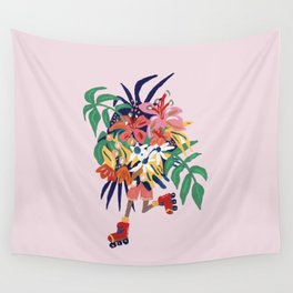 Floral Roller Babe Wall Tapestry