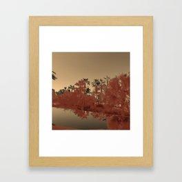 PALM TREE SUNSET GOLD PINK ORANGE Framed Art Print