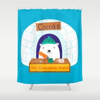 polar bear Shower Curtains featuring Polar Bear by Claire Lordon