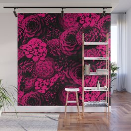 Moody Florals in Magenta Wall Mural