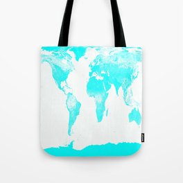 world MAp Aqua Blue Tote Bag