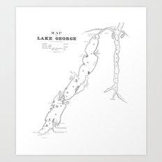 1853 Map of Lake George Art Print