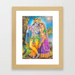 Radha Krishna Playing Flute Lakshmi Hindu Art Yoga Spiritual Framed Art Print