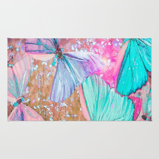 Turquoise Butterflies On A Pink Background