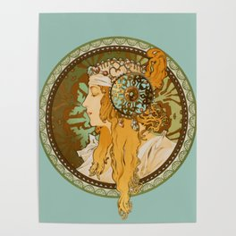 "Alphonse Mucha ""Byzantine Head: The Blonde"" edited Poster"