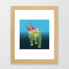 Flax, Kowhai and Manuka Flowers Framed Art Print