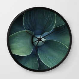Dark green leaves Wall Clock