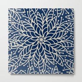 Modern navy blue ivory hand painted floral mandala Metal Print
