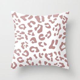 Big Rosy Brown Leopard Spots Throw Pillow