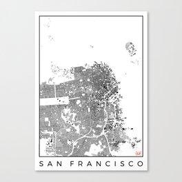 San Francisco Map Schwarzplan Only Buildings Canvas Print
