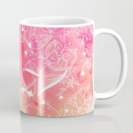 Modern summer pink orange sunset watercolor floral hand drawn illustration Coffee Mug