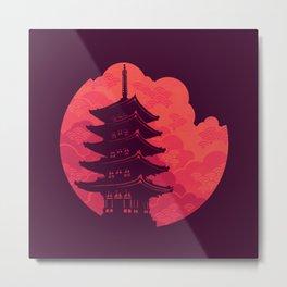 Pagoda Sunset Metal Print