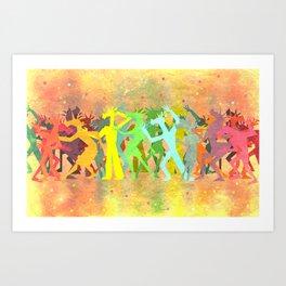 Conga Line Unicorns Art Print