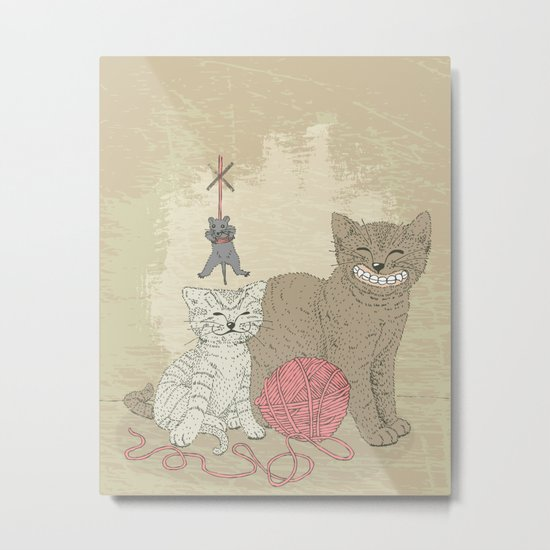 Naughty Cats Metal Print