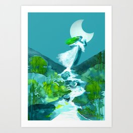 Dancing with a nymph Art Print