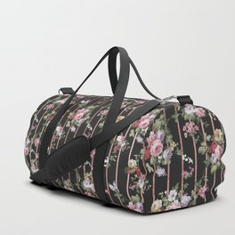 Elegant faux rose gold black stripes vintage blush pink lavender floral Duffle Bag