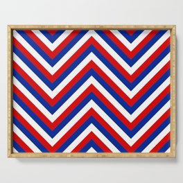 Red White and Blue French Flag Jumbo Chevron Pattern Serving Tray