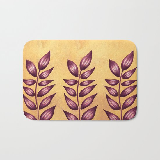 Abstract Plant With Purple Leaves Bath Mat