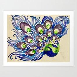 Blueberry Lime Peacock Art Print