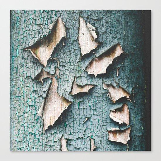 Rustic old light blue green peeling paint Canvas Print